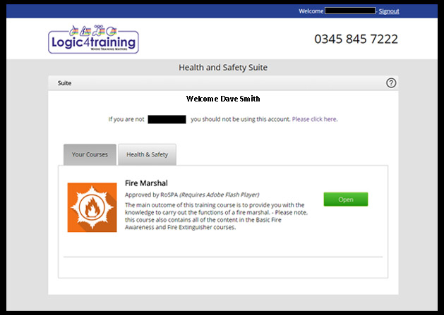 health and safety welcome screen