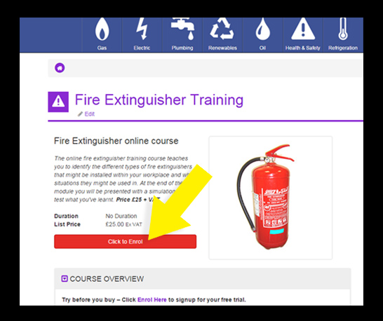 enrolling onto online health and safety course